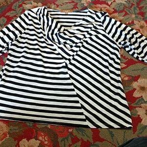 Ellen Tracy Illusion striped tunic,1X,NWOT